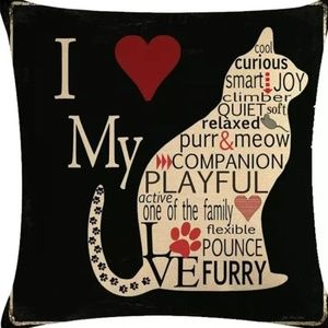 Other - Pillow Cover- New-  I Love My Cat